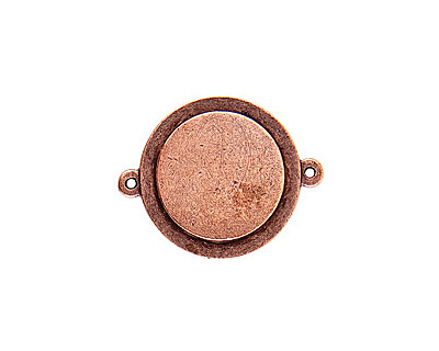 Nunn Design Antique Copper (plated) Raised Tag Small Circle Connector 33x26mm