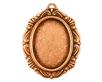 Stampt Antique Copper (plated) Damask Frame Oval Setting 18x25mm