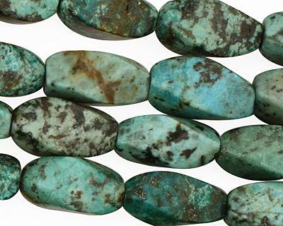 African Turquoise Twisted 4 Sided Rice 17x9mm