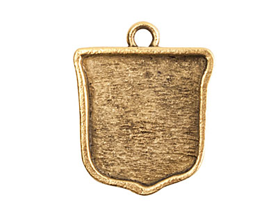 Nunn Design Antique Gold (plated) Crest Ensign Bezel Pendant 20x24mm
