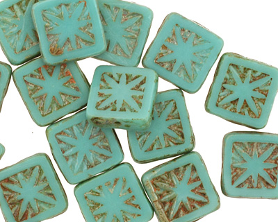Czech Glass Turquoise Picasso Flower Window Square 10mm