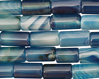 Sky Blue Line Agate Tube 10-12x6mm