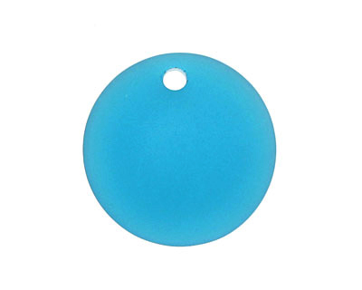 Peacock Blue Recycled Glass Concave Coin 24mm