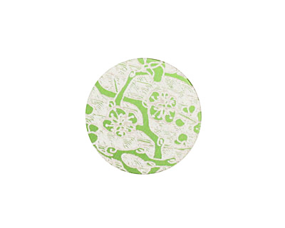 Lillypilly Lime Green Cherry Blossom Anodized Aluminum Disc 19mm, 24 gauge