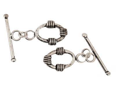 Antique Silver (plated) Oval Toggle Clasp with 3 Coils 18x14mm, 28mm bar
