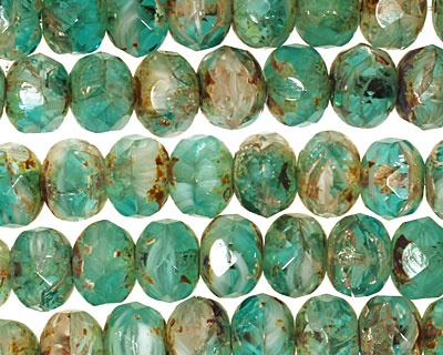 Czech Glass Emerald Seas Fire Polished Rondelle 6x9mm