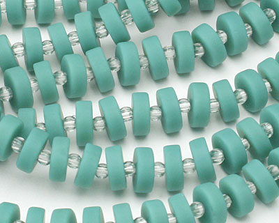 Vintage Turquoise Recycled Glass Heishi 8mm