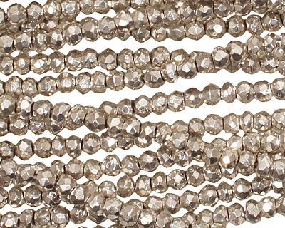 Golden Pyrite (silver) Faceted Rondelle 4mm
