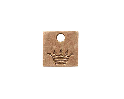 Nunn Design Antique Gold (plated) Mini Square Crown Tag 13mm