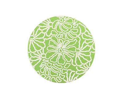 Lillypilly Lime Green Weathered Daisy Anodized Aluminum Disc 25mm, 24 gauge