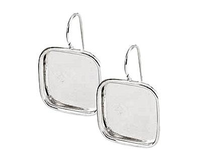 Nunn Design Sterling Silver (plated) Large Square Frame Earring 18mm