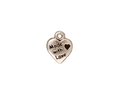 TierraCast Antique Silver (plated) Made with Love Heart Charm 10x12mm