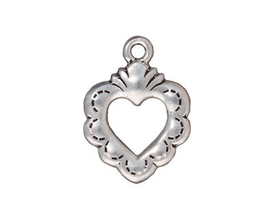 TierraCast Antique Silver (plated) Sacred Heart Ring 19x25mm
