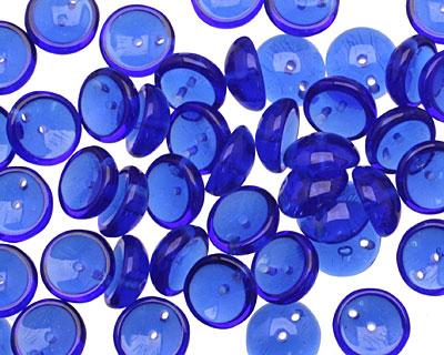 Czech Glass Transparent Cobalt 2-Hole Piggy Bead 8mm