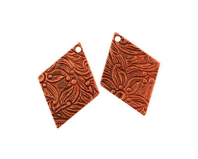 Stampt Antique Copper (plated) Floral Embossed Diamond 15x20mm