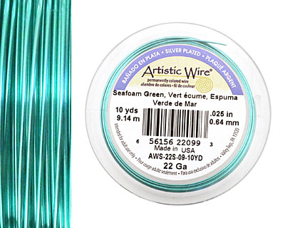 Artistic Wire Silver Plated Seafoam Green 22 gauge, 10 yards
