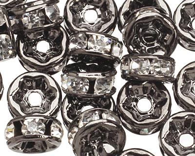 Gunmetal (plated) Crystal Rhinestone Rondelle 6mm