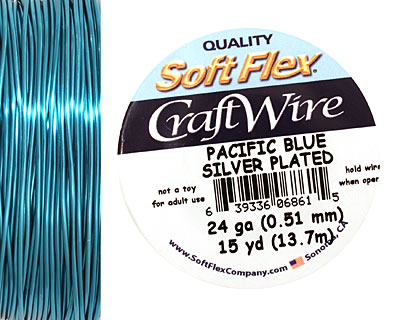 Soft Flex Silver Plated Pacific Blue Craft Wire 24 gauge, 15 yards