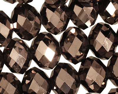 Oiled Bronze Crystal Faceted Rondelle 14mm