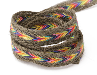 Charcoal w/ Rainbow Chevron Hemp Ribbon 15mm