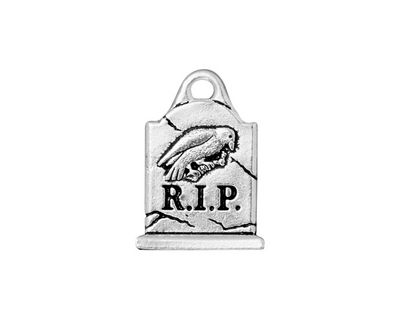 TierraCast Antique Silver (plated) Grave Stone Charm 15x20mm