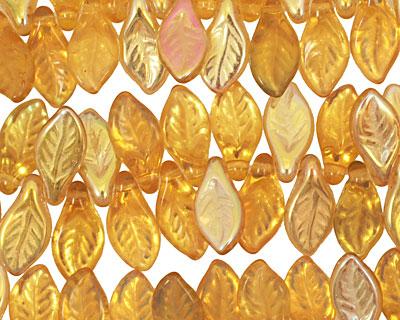 Czech Glass Opa Leaf Drop 5x10mm