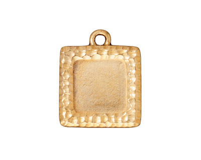 TierraCast Antique Gold (plated) Hammertone Square Frame Drop 19x22mm