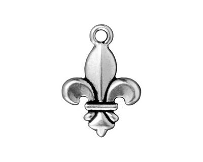 TierraCast Antique Silver (plated) Fleur Pendant 16x24mm