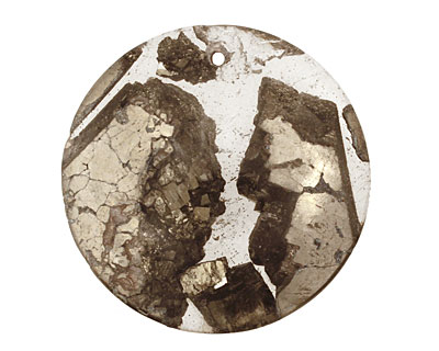 Golden Pyrite (silver tone in resin) Coin Pendant 40mm
