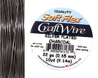 Soft Flex Silver Plated Charcoal Craft Wire 22 gauge, 10 yards