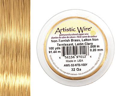 Artistic Wire Non-Tarnish Brass 32 gauge, 100 yards