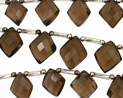 Smoky Quartz Faceted Diamond Drop Graduated 9-12mm