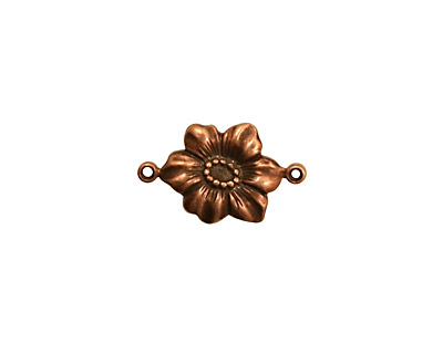 Stampt Antique Copper (plated) Clematis Connector 17x10mm