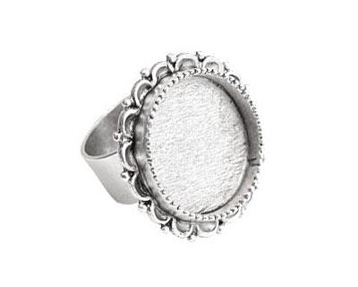 Nunn Design Antique Silver (plated) Large Ornate Circle Bezel Adjustable Ring 28mm