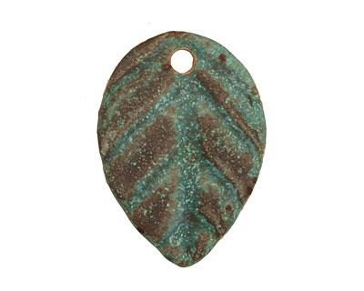 Kylie Parry Ceramic Copper Patina Autumn Leaf Pendant 21x30mm