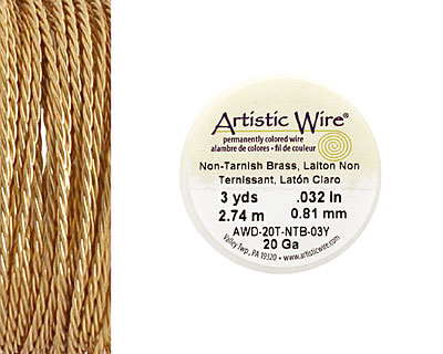 Twisted Artistic Wire Non-Tarnish Brass 20 gauge, 3 yards