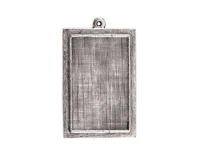 Nunn Design Antique Silver (plated) Raised Rectangle Pendant 24x40mm