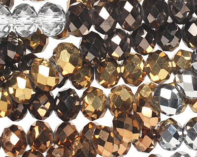 Metallics Crystal Mix Faceted Rondelle 8mm