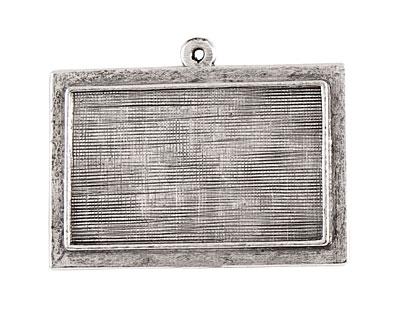 Nunn Design Antique Silver (plated) Horizontal Raised Rectangle Pendant 36x28mm