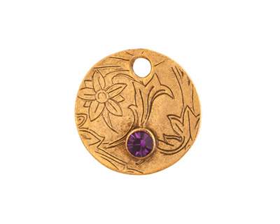 Nunn Design Antique Gold (plated) Decorative Small Circle Tag w/ Amethyst Crystal 20mm