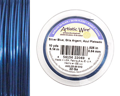 Artistic Wire Silver Plated Silver Blue 22 gauge, 10 yards