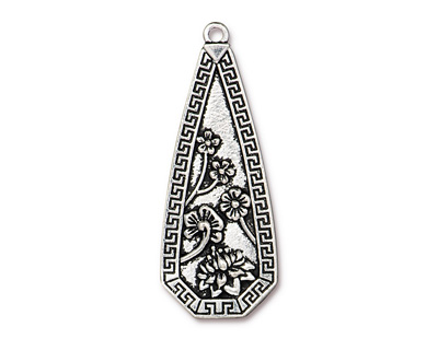 TierraCast Antique Silver (plated) Blossom Pendant 23x58mm