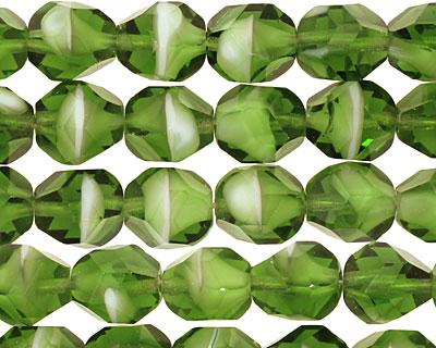Czech Glass Bottle Green Faceted Nugget 10x8mm