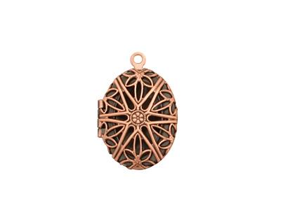 Antique Copper (plated) Oval Filigree Heirloom Locket 17x25mm