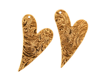 Stampt Antique Gold (plated) Floral Embossed Heart 17x25mm