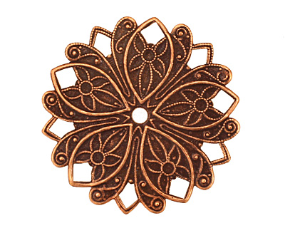 Stampt Antique Copper (plated) Nouveau Flower Pendant 32mm