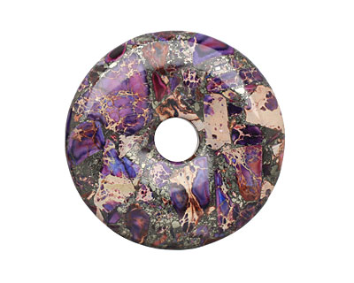 Purple Impression Jasper & Pyrite Mosaic Donut 50mm