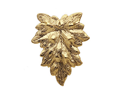 Stampt Antique Gold (plated) Textured Leaf 25x31mm (no drill hole)