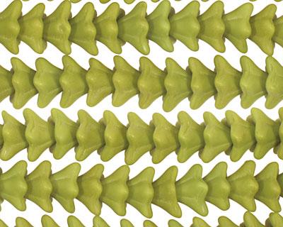 Czech Glass Wasabi Green (matte) 5 Point Bellflower 6x9mm