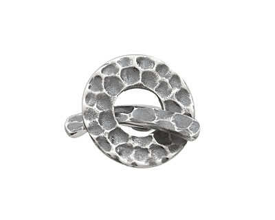 Saki Sterling Silver Hammertone Toggle Clasp 18mm, 22mm bar